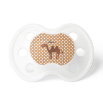 Personalized name cute camel brown polka dots pacifier