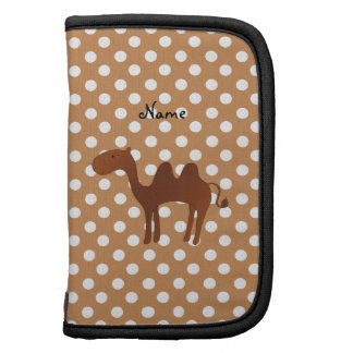 Personalized name cute camel brown polka dots folio planner