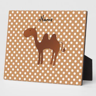 Personalized name cute camel brown polka dots photo plaque