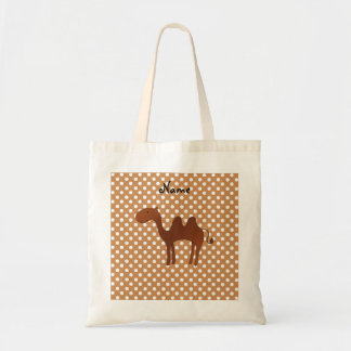 Personalized name cute camel brown polka dots tote bag