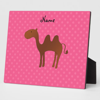 Personalized name cute camel pink polka dots display plaque