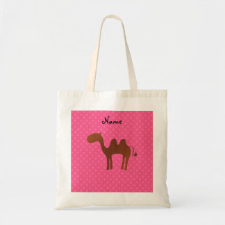 Personalized name cute camel pink polka dots tote bag