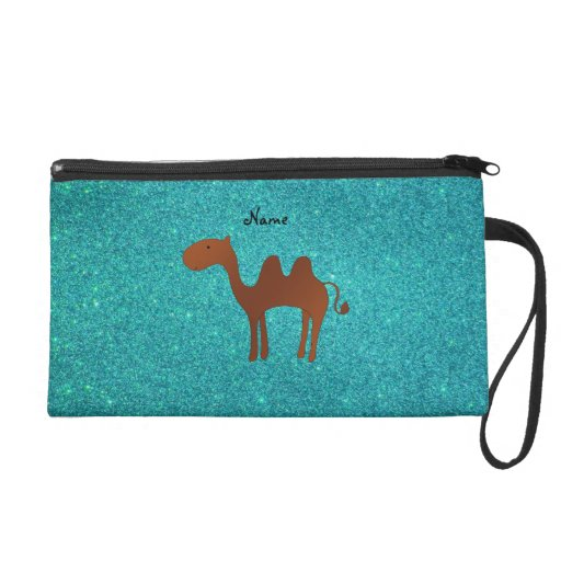 Personalized name cute camel turquoise glitter wristlet purse