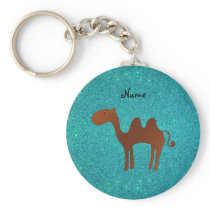 Personalized name cute camel turquoise glitter keychain
