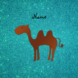 Personalized name cute camel turquoise glitter keychain 84b4d963d