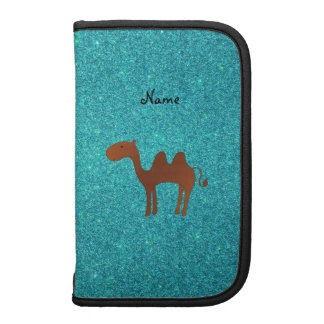 Personalized name cute camel turquoise glitter organizers