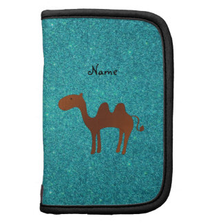 Personalized name cute camel turquoise glitter planners