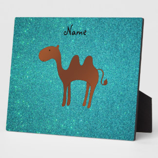 Personalized name cute camel turquoise glitter photo plaques