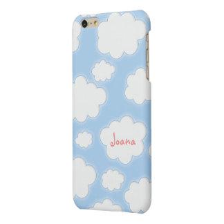 Personalized Name Cute Clouds Pattern Blue Pink Matte iPhone 6 Plus Case