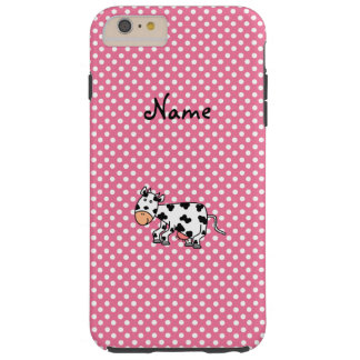 Personalized name cute cow pink white dots tough iPhone 6 plus case