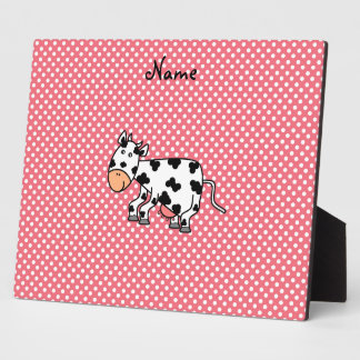 Personalized name cute cow display plaque