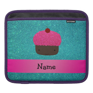 Personalized name cute cupcake turquoise glitter sleeves for iPads