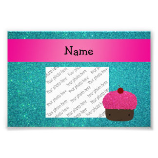 Personalized name cute cupcake turquoise glitter art photo