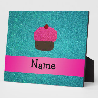 Personalized name cute cupcake turquoise glitter display plaques