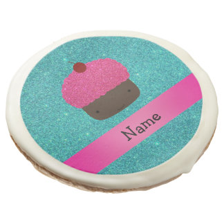 Personalized name cute cupcake turquoise glitter sugar cookie