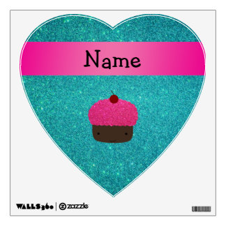 Personalized name cute cupcake turquoise glitter wall stickers