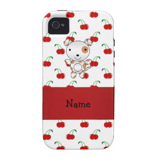 Personalized name cute dog red cherry pattern vibe iPhone 4 cover