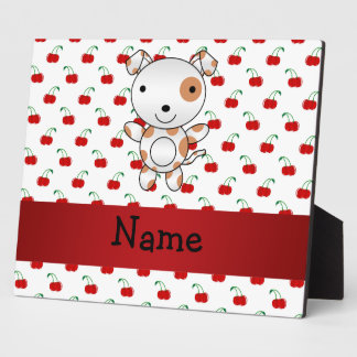 Personalized name cute dog red cherry pattern plaques