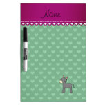 Personalized name cute donkey green hearts Dry-Erase board