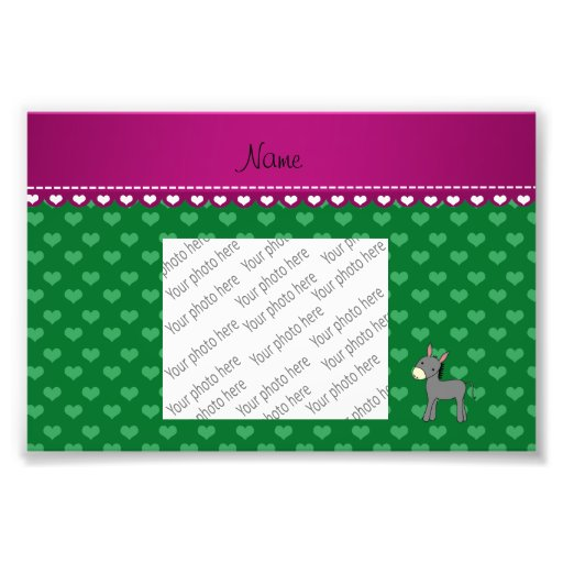 Personalized name cute donkey green hearts photograph