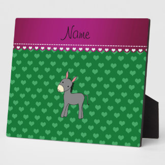 Personalized name cute donkey green hearts display plaques