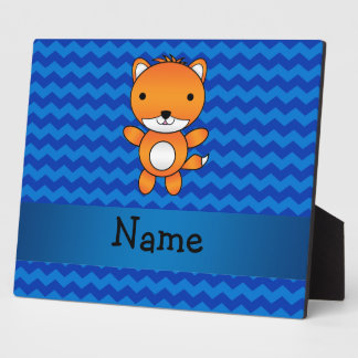 Personalized name cute fox blue chevrons display plaques