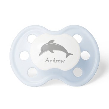 Beach Themed Personalized name cute grey dolphin baby pacifier