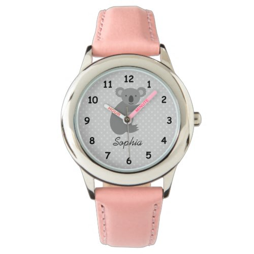 Personalized name cute koala bear pink girls watch