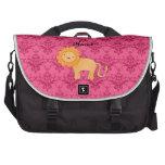 Personalized name cute lion pink damask laptop messenger bag