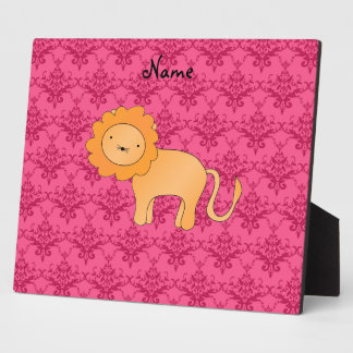 Personalized name cute lion pink damask display plaque