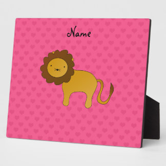 Personalized name cute lion pink hearts plaque