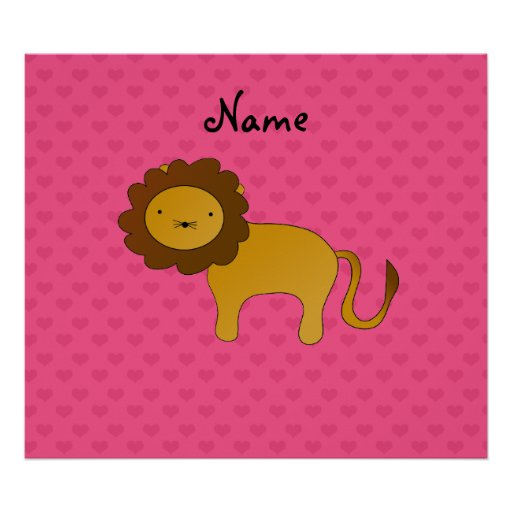 Personalized name cute lion pink hearts print