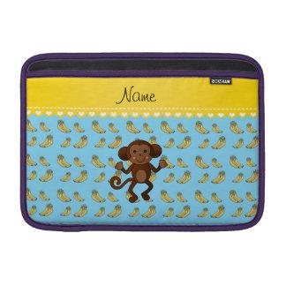 Personalized name cute monkey blue yellow bananas MacBook sleeve