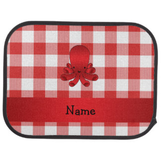 Personalized name cute octopus red checkers car floor mat