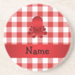 Personalized name cute octopus red checkers beverage coaster