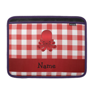 Personalized name cute octopus red checkers MacBook air sleeves