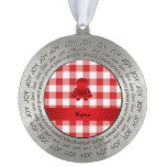Personalized name cute octopus red checkers round ornament