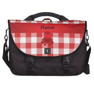 Personalized name cute octopus red checkers laptop bags
