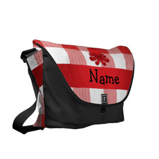 Personalized name cute octopus red checkers messenger bag