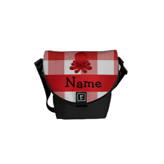 Personalized name cute octopus red checkers messenger bags
