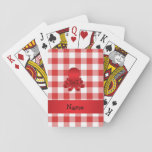 Personalized name cute octopus red checkers poker deck