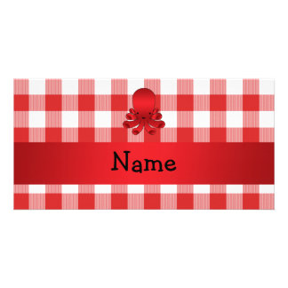 Personalized name cute octopus red checkers photo card