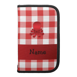 Personalized name cute octopus red checkers organizer