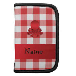 Personalized name cute octopus red checkers planners