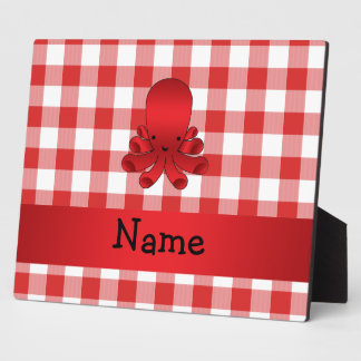 Personalized name cute octopus red checkers plaques