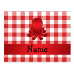 Personalized name cute octopus red checkers postcards