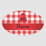 Personalized name cute octopus red checkers oval sticker