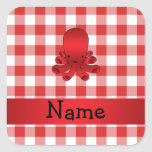 Personalized name cute octopus red checkers sticker