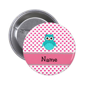 Personalized name cute owl 2 inch round button