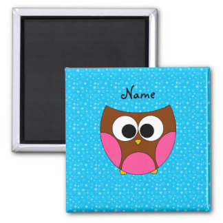 Personalized name cute owl 2 inch square magnet
